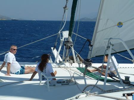 der erste Segelschlag südlich Samos