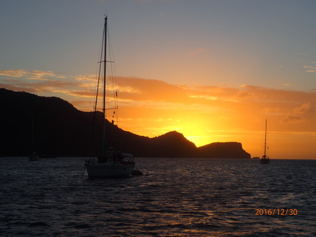 Untergehende Sonne in Le Marin
