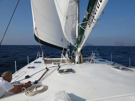 Auf See Santourin nach Kreta